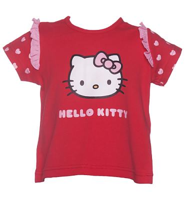 Kids Red Frill Sleeve Hello Kitty T-Shirt