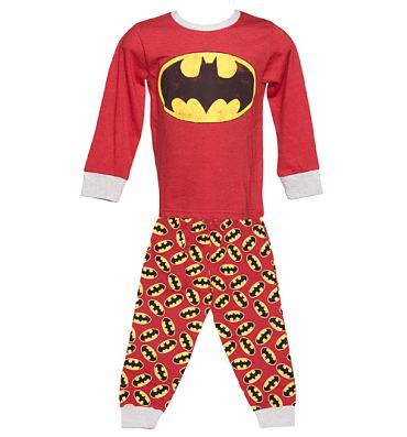 Kids Red Marl Batman Logo Pyjamas from Fabric Flavours