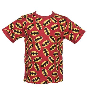 Kids Red Marl Repeat Logo Batman T-Shirt from Fabric Flavours