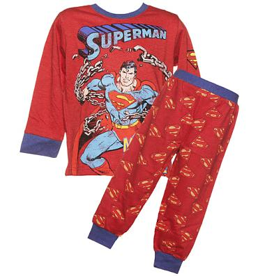 Kids Red Marl Superman Long Sleeved Pyjamas from Fabric Flavours