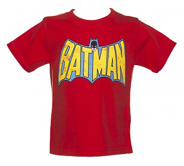 Kids Washed Red Batman Wings Logo T-Shirt from Fabric Flavours