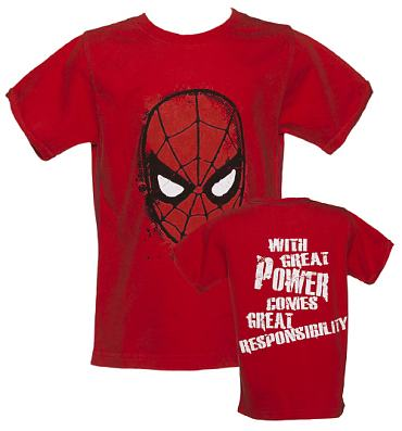 Kids Washed Red Spiderman Mask T-Shirt from Fabric Flavours
