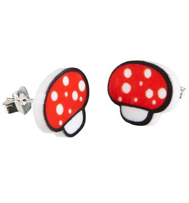 Kitsch Gamer Toadstool Stud Earrings from Punky Pins