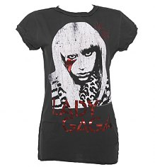 Ladies Diamante Lady Gaga Stars Charcoal T-Shirt from Amplified [View details]