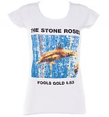 Ladies Stone Roses Fools Gold White Skinny Fit T-Shirt from Amplified