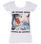 Ladies Stone Roses Wanna Be Adored White Skinny Fit T-Shirt from Amplified