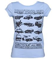 Ladies Baby Blue Retro Star Cars Vintage T-Shirt