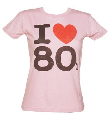 Ladies Baby Pink I Heart The 80's T-Shirt