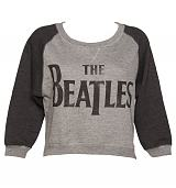 Ladies Baseball Style Beatles Logo Cropped Fleece Sweater