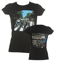 Ladies Beatles Abbey Road Vintage Print T-Shirt