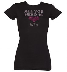 Ladies Black All You Need Is Love Diamante Beatles T-Shirt [View details]