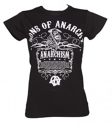 Ladies Black Anarchism Sons Of Anarchy T-Shirt