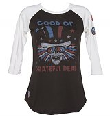 Ladies Black And White Good Ol Grateful Dead Baseball T-Shirt from Junk Food