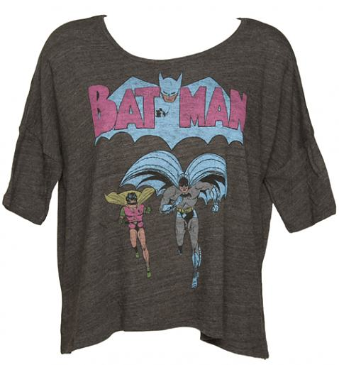 Ladies Black Batman And Robin Mid Sleeve Oversized T-Shirt