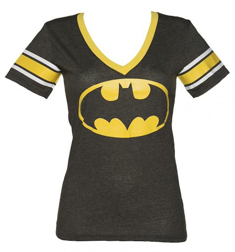 Ladies Black Batman V-Neck T-Shirt