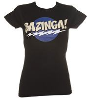 Ladies Black Big Bang Theory Bazinga Logo T-Shirt
