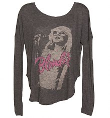 Ladies Black Blondie Photographic Long Sleeve Dipped Hem T-Shirt from Junk Food [View details]
