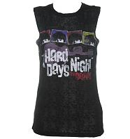 Ladies Black Burn Out Hard Days Night Beatles Sleeveless T-Shirt