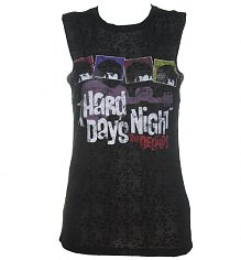 Ladies Black Burn Out Hard Days Night Beatles Sleeveless T-Shirt [View details]
