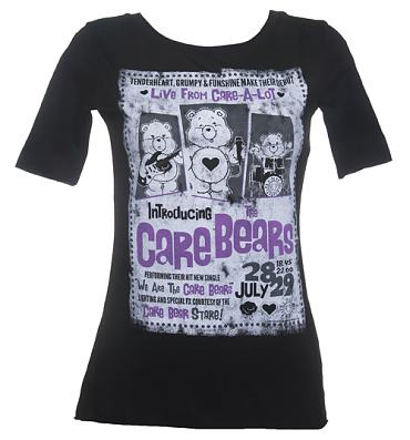 Ladies Black Care Bears In Concert Slouch Scoop Neck T-Shirt