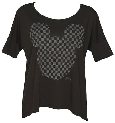 Ladies Black Chequerboard Mickey Mouse T-Shirt from Junk Food