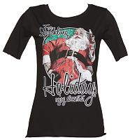Ladies Black Coca-Cola Santa Sparkling Holidays Slouch Scoop Neck T-Shirt