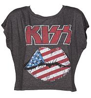 Ladies Black Cropped Vintage Kiss Print T-Shirt from Junk Food