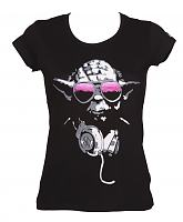 Ladies Black DJ Yoda Star Wars T-Shirt