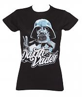 Ladies Black Darth Vader Peace Sign Star Wars T-Shirt