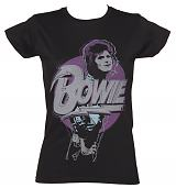Ladies Black David Bowie Pose T-Shirt