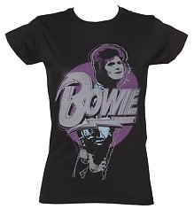 Ladies Black David Bowie Pose T-Shirt [View details]