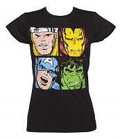 Ladies Black Distressed Marvel Avengers Characters T-Shirt