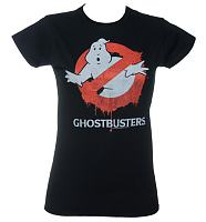 Ladies Black Ghostbusters Dripping Logo T-Shirt