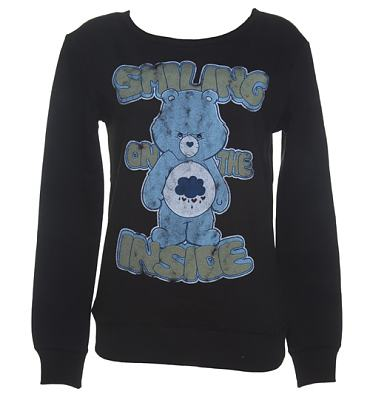 Ladies Black Grumpy Bear Smiling On The Inside Care Bears Sweater