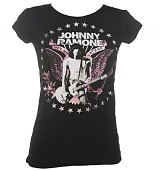 Ladies Black Johnny Ramone Hey Ho Let's Go T-Shirt from House Of The Gods