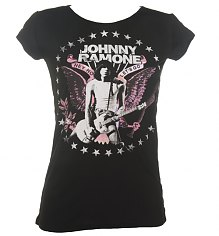 Ladies Black Johnny Ramone Hey Ho Let's Go T-Shirt from House Of The Gods [View details]