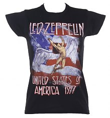 Ladies Black Led Zeppelin Stars And Stripes 1977 T-Shirt [View details]