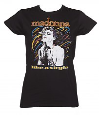 Ladies Black Madonna Like A Virgin T-Shirt [View details]