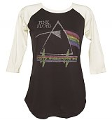 Ladies Black Pink Floyd Dark Side Of The Moon Baseball T-Shirt from Junk Food