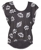 Ladies Black Pow Comic Print Cropped Oversized Sleeveless T-Shirt from Junk Food