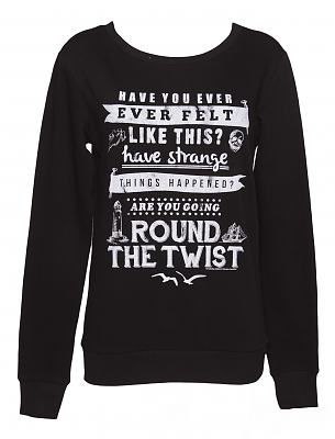Ladies Black Round The Twist Theme Tune Sweater