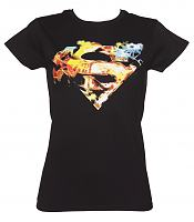 Ladies Black Saturated Superman Logo T-Shirt from Urban Species