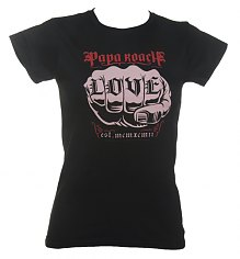 Ladies Black Skinny Papa Roach Love Tattoo T-Shirt [View details]