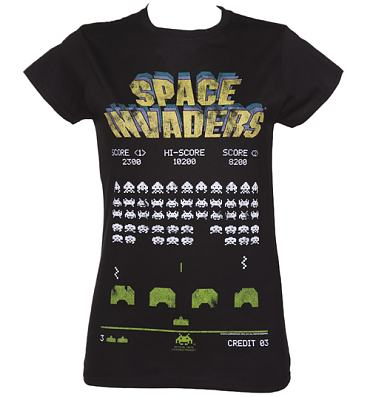 Ladies Black Space Invaders T-Shirt