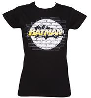 Ladies Black Spotlight Batman T-Shirt