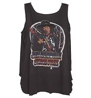 Ladies Black Stone Free Jimi Hendrix Open Back Swing Vest from Junk Food