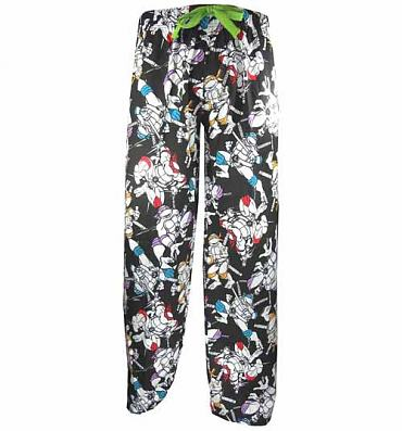 Ladies Black Teenage Mutant Ninja Turtles All Over Print Lounge Pants