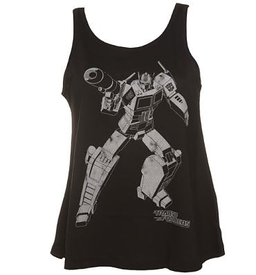 Ladies Black Transformers Optimus Prime Silhouette Swing Vest