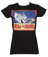 Ladies Black Vintage Print Tom And Jerry T-Shirt