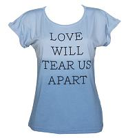 Ladies Blue And White Dip Dye Love Will Tear Us Apart Boyfriend T-Shirt from Worn By